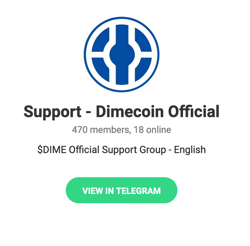 Dimecoin Support Page At Telegram