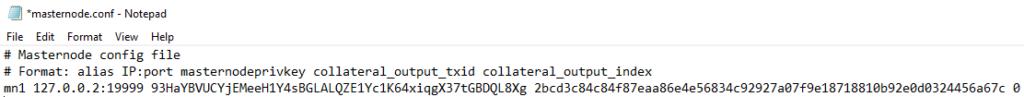 sample masternode.conf file