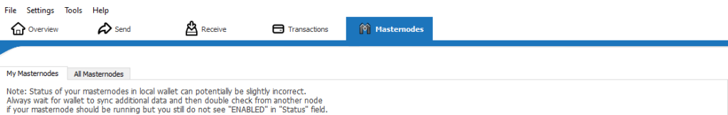 masternodes tab